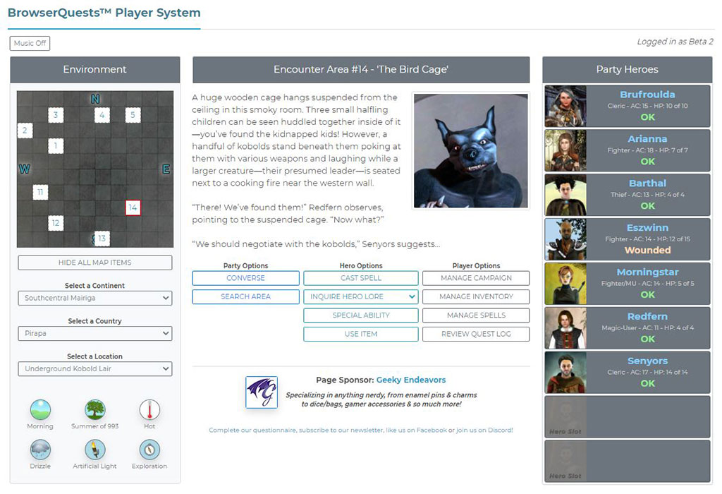 Screenshot of the BrowserQuests player interface